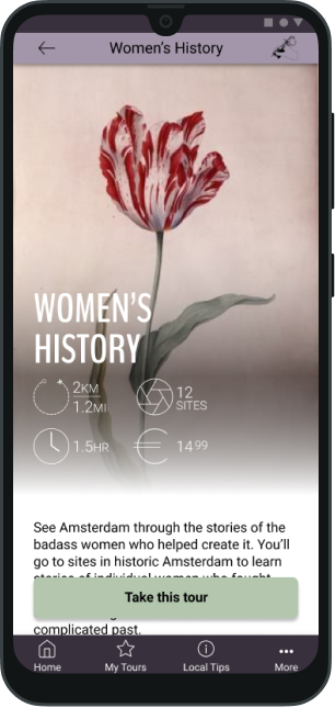 Phone mockup highlighting Women's History tour via the Badass Tours app