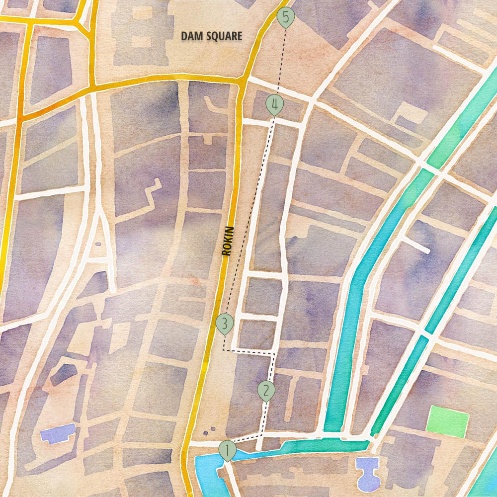 Map of the 5 locations for Hidden Amsterdam